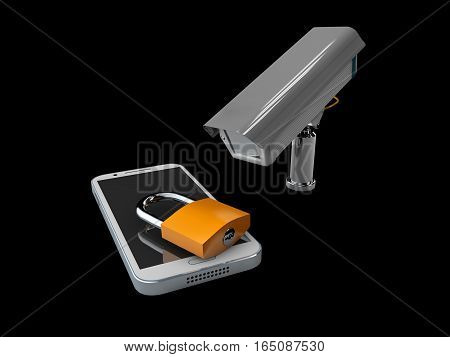 3D Illustration Of Cctv And Mobile Application On Locked Smartphone, Protection Phone Concept, Isola