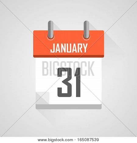 January 31, calendar date month icon with flat design on grey background