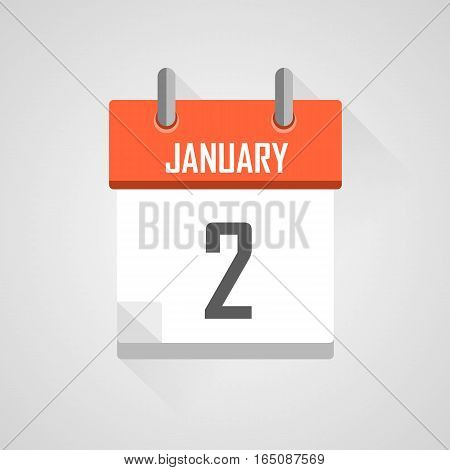 January 2, calendar date month icon with flat design on grey background