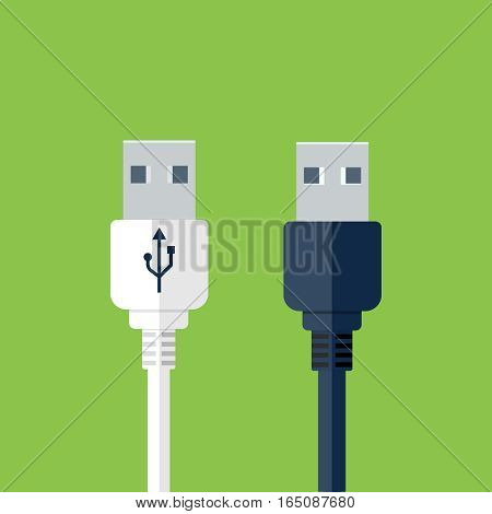 Usb plug illustration, design element for mobile and web applications, eps 10