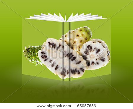 book of Morinda citrifolia on a green background