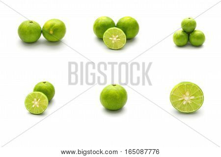 Isolated Set Of Fresh Lime And Sliced Fresh Lime On White Background