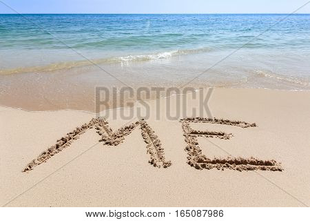 Me Text Written At The Sand Beach