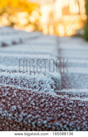 cold snap creating frost on a tiled roof in portrait