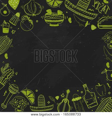 Mexican food banner. Vector vintage illustration for menu, poster on dark background. with place for text.