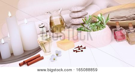 Spa still life with burning candles on light background. 3D illustration