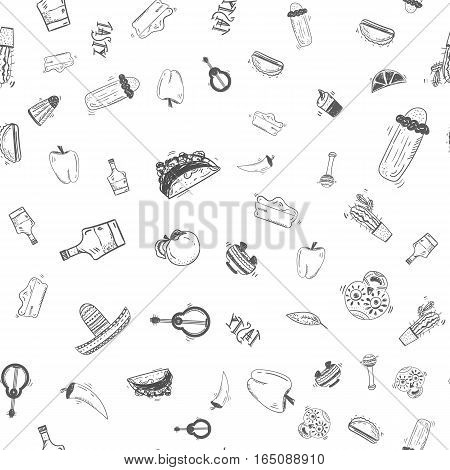 Mexican food seamless hand drawn pattern with taco, cactus, hat, chili for site banners, headers
