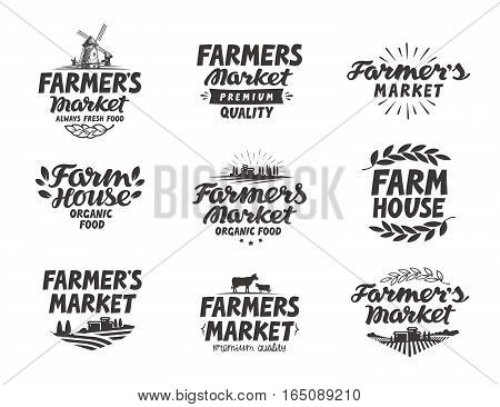 Farmers market, vector logo. Farm, farming icons set isolated on white background