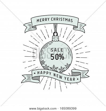 Merry christmas and happy new year lettering on white ribbons, christmas ball with sale. Sale card design. Vector graphic isolated logo.