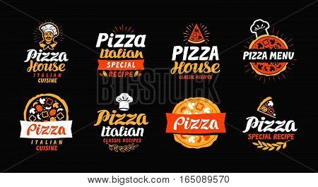 Pizza logo label element. Pizzeria restaurant food set icons