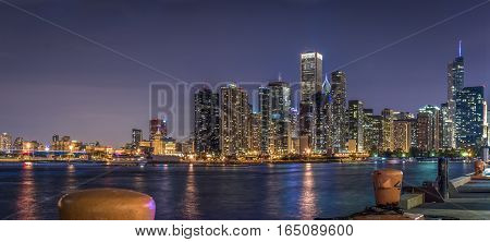 Chicago Skyline Loop view from Navy Pier