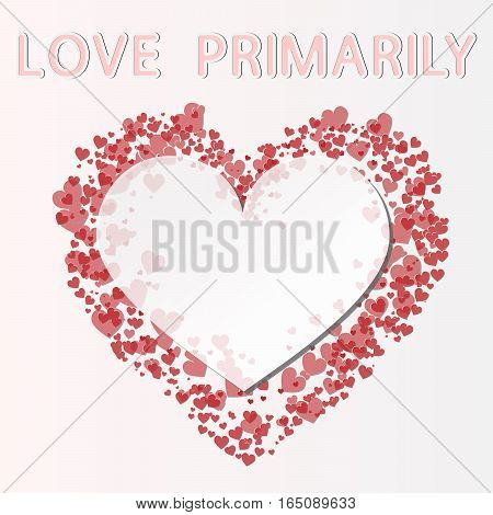 vector illustration of valentines day lettering love primarily and transparent heart on background from hearts