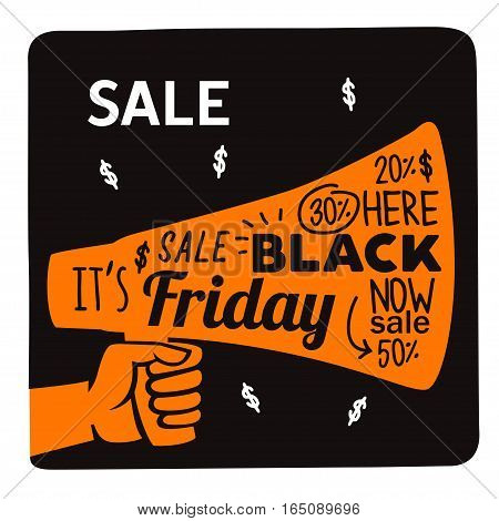 hand holding megaphone, black friday advertising poster, vector illustration.