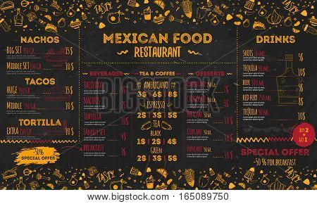 Mexican Food Restaurant menu, template design. Food flyer for promotion, site banner.