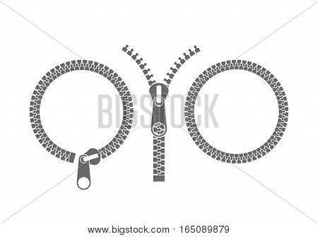 Isolated zippers on white background. (EPS 10)