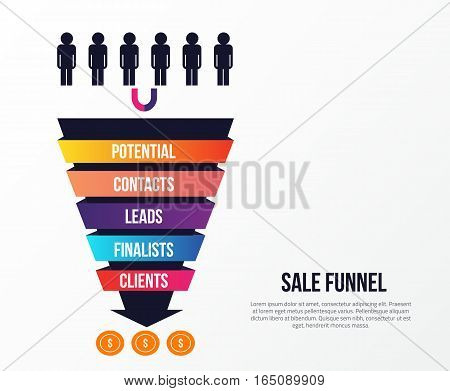 Sale Funnel infographics with stages of Sale. Lead concept with arrow, strategy to income. Can be used for business presentations, social media, web.