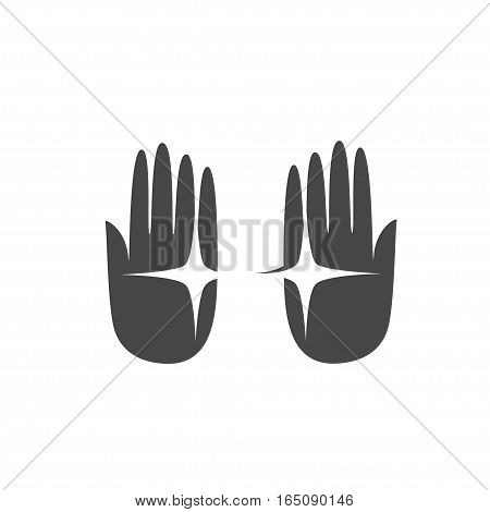 Hand palm logo silhouette, isolated vector graphic icon