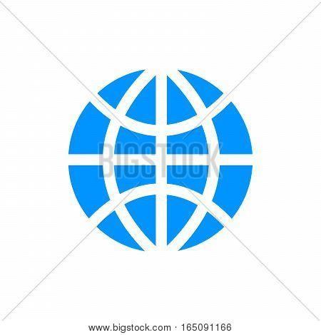 World globe simple blue icon isolated on white