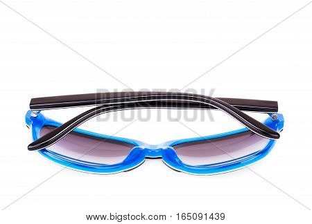 Stylish sunglasses isolated on white background, close up picture.