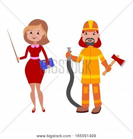 People teacher and firefighter different professions vector illustration. Success teamwork diversity human work lifestyle. Standing successful young person character in uniform.
