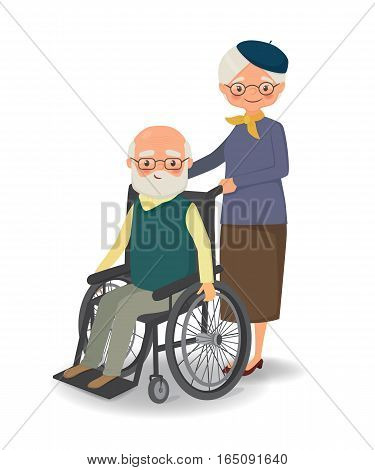 Elderly woman strolling with disabled elderly man. Cartoon vector illustration