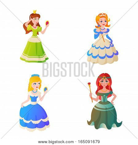 Cute princess vector character. Fantasy little girl in queen beautiful costume illustration. Fashion fairytale woman elegance style dress and gold tiara on head graphic.