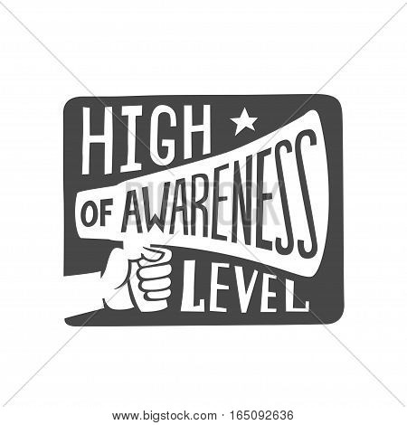 high awareness level label, isolated vector illustration.