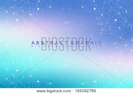 Big data complex. Graphic abstract background communication. Perspective backdrop of depth. Minimal array with compounds lines and dots. Digital data visualization. Vector illustration Big data