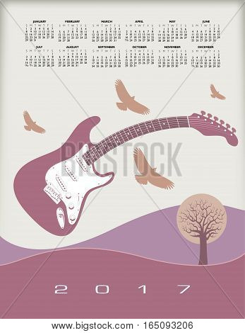 A 2017 calendar with a guitar theme for print or web use