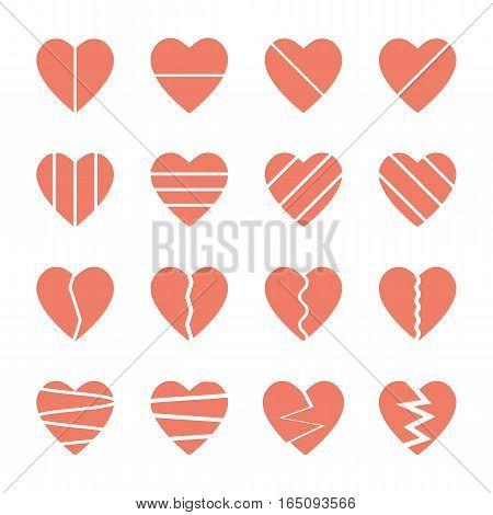 pink red broken heart icons set,vector Illustration EPS10