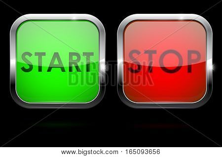 Start and stop buttons. Vector illustration on black background