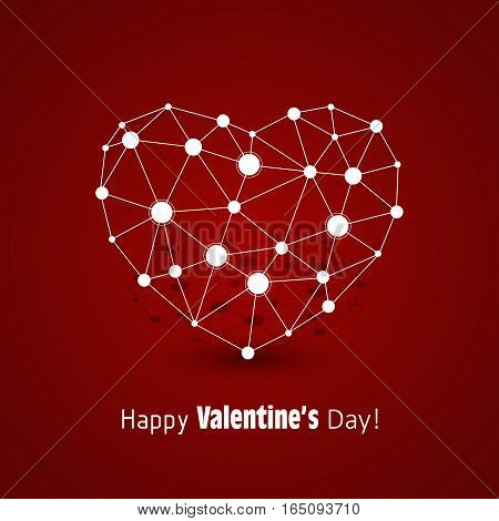 White heart made of connected lines and dots on red background. Icon for medicine, science, technology , chemistry and Valentines Day.