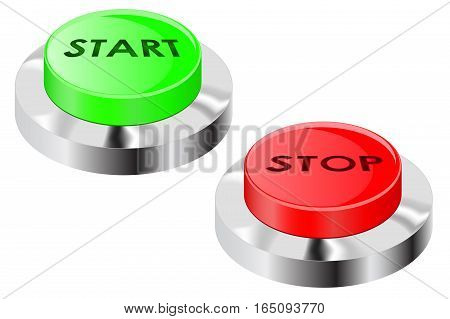 Stop and start push buttons. Vector illustration isolated on white background