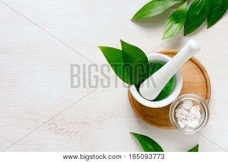 Spa aromatic sea salts handmade natural spa products concept view from above space for a text