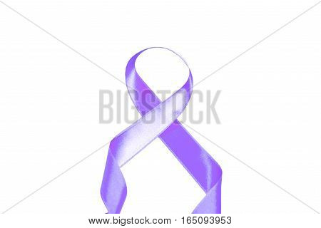 World Cancer Day isolated purple ribbon on white background