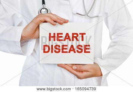 Heart Disease Card In Hands Of Medical Doctor