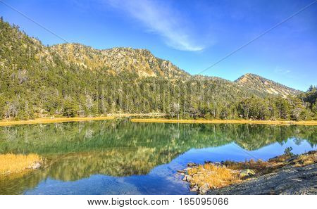 Beautiful high altitude lake (les Laquettes) located in Pyrenees Mountains in Neouvielle Massif.