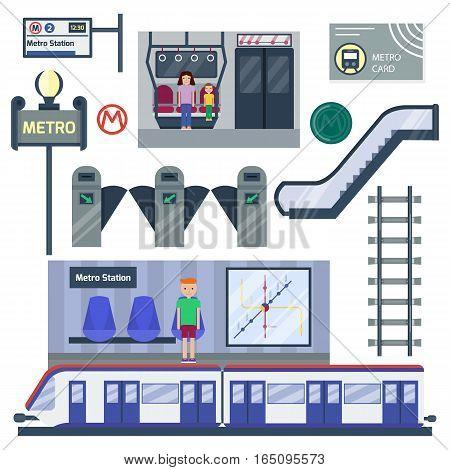 Metro station vector illustration. Transportation modern railroad trip transit tunnel vehicle service. Passenger architecture interior platform construction.