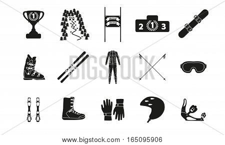 Alpine downhill slalom. Silhouette icon set of equipment, wear and shoes. Vector illustration.