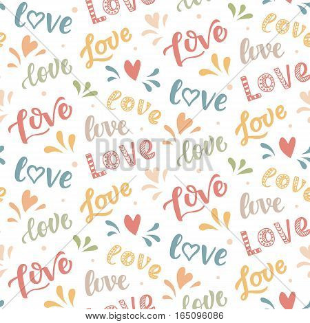 Seamless pattern with hand drawn Love lettering. Modern calligraphic words and hearts doodle, Isolated on white