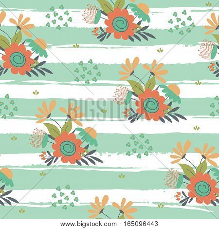 Seamless flower hand drawn pattern. Vector illustratio