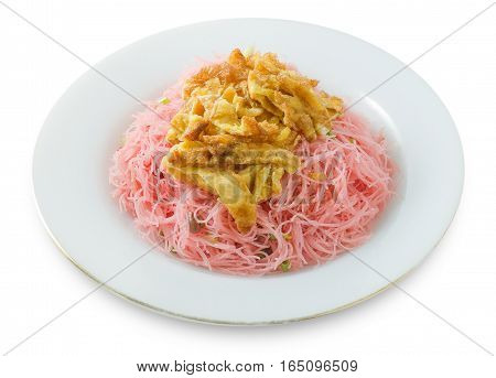 Thai Cuisine and Food Dish of Red Stir Fried Rice Vermicelli Topping with Julienne Omelet Isolated on White Background.