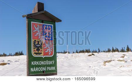 Welcome Sign Giant Mountains (Krkonossky) National Park, Czech Republic