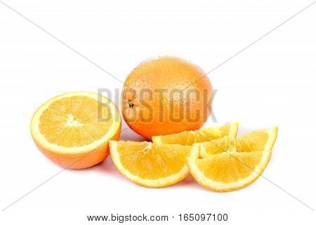 A selection of oranges sliced isolated on white