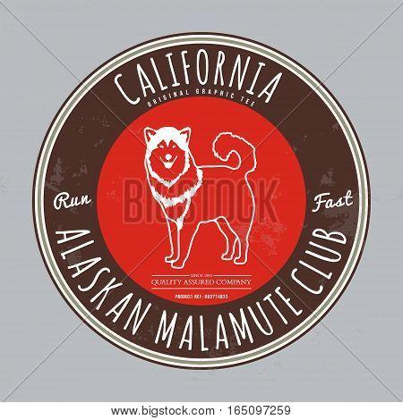 Alaskan malamute club. California Tee graphic. Vector. Grunge effect on separate layer