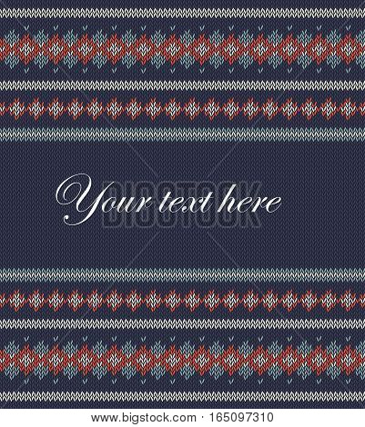 Knitted  texture on blue background with place for text. Colorful striped pattern. Can be used as scheme of knitting, wallpaper, design element, independent project, website etc. Woolen cloth.