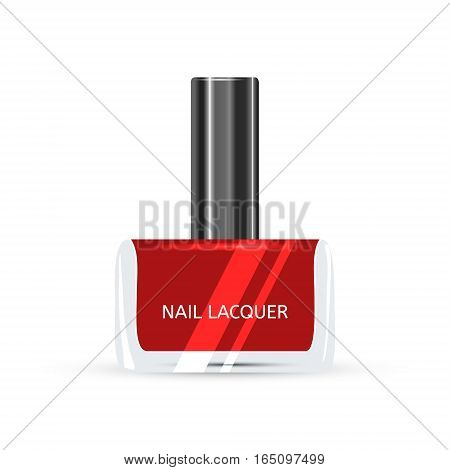 Red Nail Lacquer isolated on white background Vector illustration