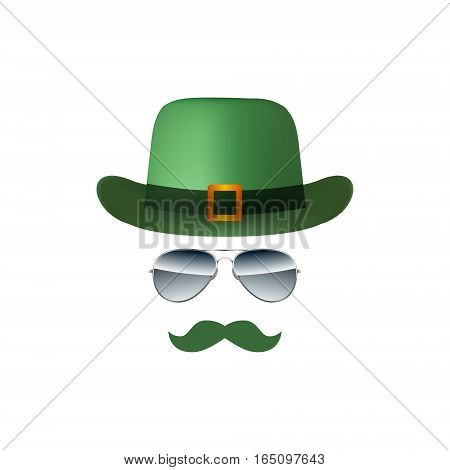 Hat Glasses and Mustache isolated on white background vector illustration