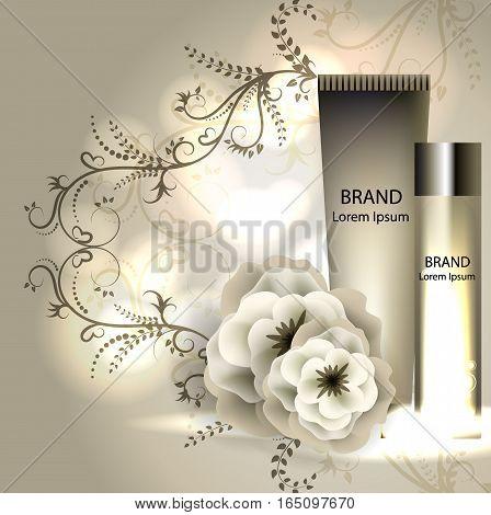 cream ads, makeup tube template with sparkling effect. 3D illustration. Camelia elixir.