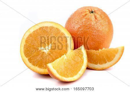A selection of oranges isolated on a white background